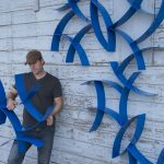 Blue wall hanging sculptures by Morgan Robinson