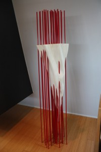 white and red sculpture