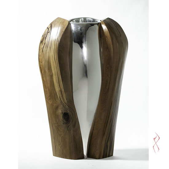 image of the piece, a wood and metal sculpture